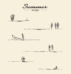 set drawn seaside view people beach sketch vector image