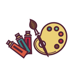 Palette and brush vector