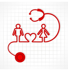 Stethoscope make malefemale and heart symbol vector image