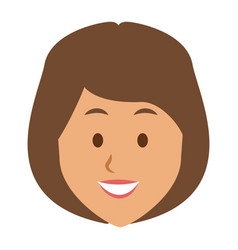 Woman face smile expression cartoon character on vector