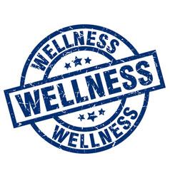 Wellness blue round grunge stamp vector