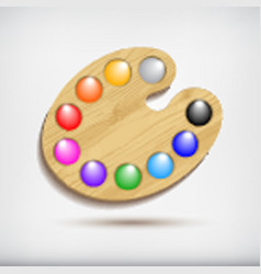 Wood art palette with colorsisolated on white vector