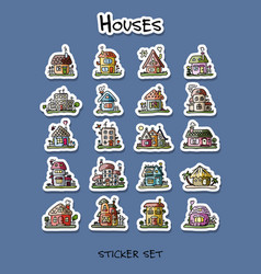 houses sticker set for your design vector image