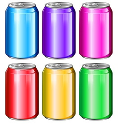 Colourful soda cans vector