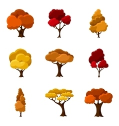 Set of autumn abstract stylized trees natural vector