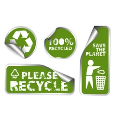 Stickers with recycle icons vector