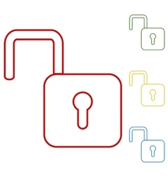 Unlock line icon - vector