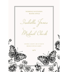 Invitation with butterflies and flowers vintage st vector