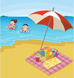 kids at the beach vector image