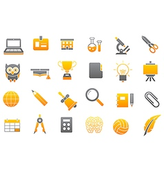 School elements gray yellow icons set vector