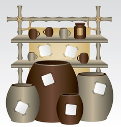 Bamboo market shelf and mugs vector image