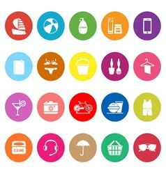 Beach flat icons on white background vector image vector image