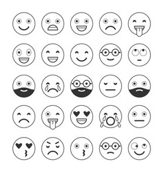 black and white linear flat icons of emoticons vector image