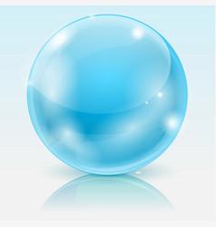 Blue glass ball shiny 3d sphere vector