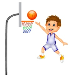 Cartoon boy playing basket ball vector
