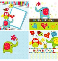 Children birthday cards set vector
