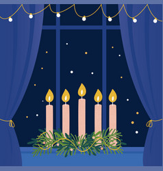 christmas advent wreath with candles on window vector image vector image