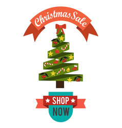 Christmas sale price off new year decorated tree vector