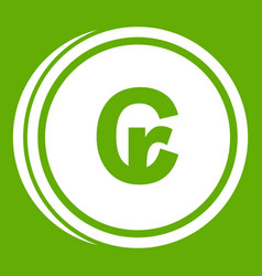 Coins cruzeiro icon green vector