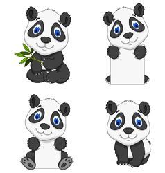 collection funny cartoon panda vector image vector image