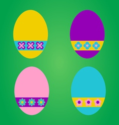 Colourful easter eggs on green background vector image vector image