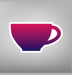 Cup sign purple gradient icon on white vector