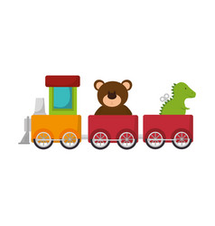 cute train toy with teddy and rex vector image vector image