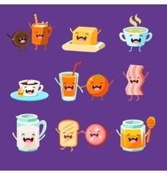 Fun Breakfast Food with cute faces happy vector image