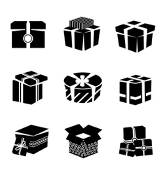 Gift box black and white icons set vector image vector image