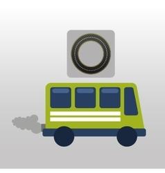 Green bus with smoke circle road way design vector