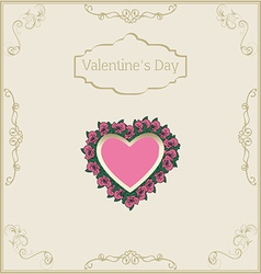 greeting card for Valentines Day in vintage style vector image vector image