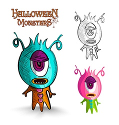 Halloween monsters one eye creature eps10 file vector