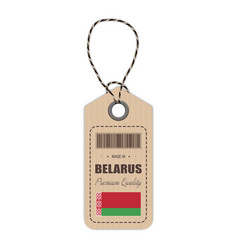 hang tag made in belarus with flag icon isolated vector image