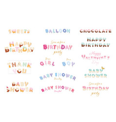 Happy birthday baby shower valentine s day vector