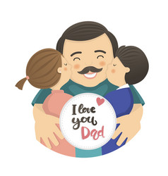 happy father s day scene with dad and two children vector image vector image