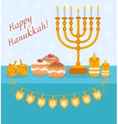 Happy Hanukkah greeting card invitation poster vector image vector image