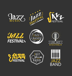 jazz festival logos set isolated on black vector image vector image