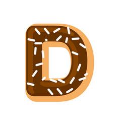 Letter d donut font doughnut alphabet sweet vector