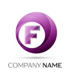 Letter f logo symbol in the colorful circle on vector