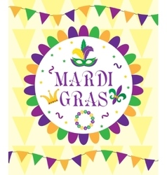 Mardi Gras Carnival template greeting card vector image