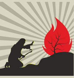 Moses and the burning bush vector