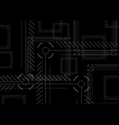Sci-fi abstract black technology squares vector