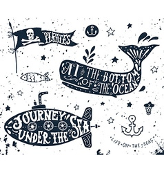 Set of nautical elements vector