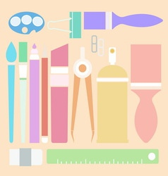 Set of stationary in flat color style vector image