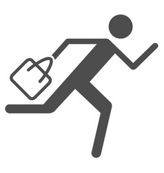 Shopping running man icon vector