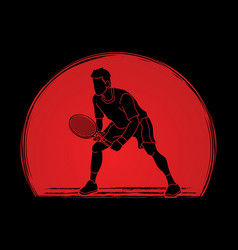 tennis player action man play tennis vector image vector image