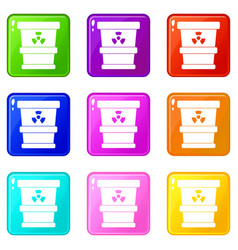 Trashcan containing radioactive waste icons 9 set vector