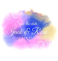Water color stain wedding background vector