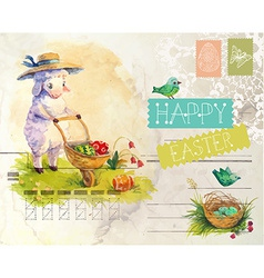 Watercolor vintage style Easter card vector image vector image