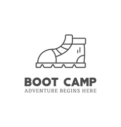Camping adventure logo design with boot and vector
